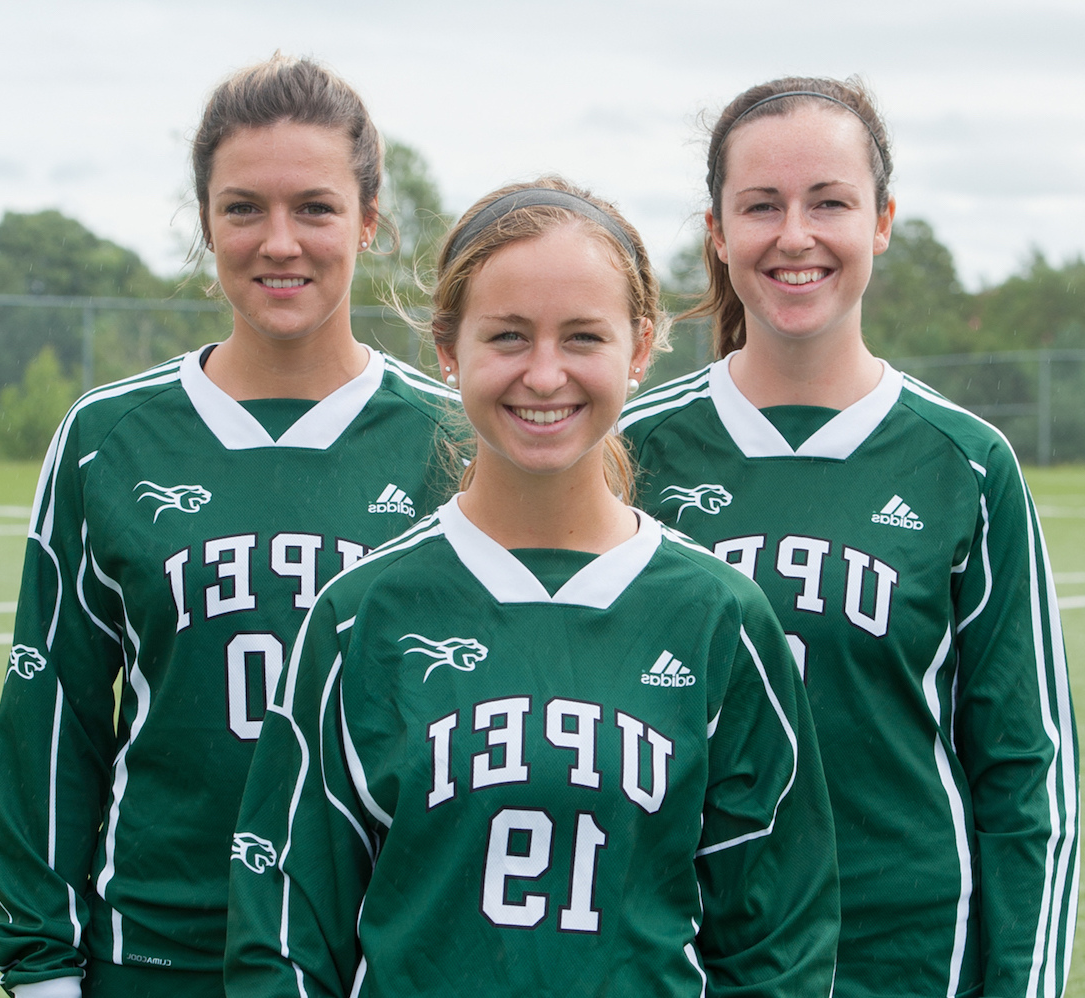 three members of the panther women's soccer team