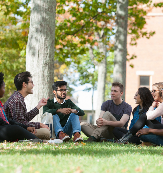 students in UPEI quad
